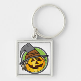 Happy Halloween Jack-O-Lantern Witch Silver-Colored Square Keychain