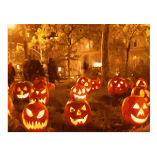 Happy Halloween Jack O Lanterns Postcard