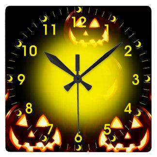 Happy Halloween-Jack-o'-lanterns Square Wall Clock