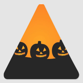 Happy Halloween Jack O Lanterns Triangle Sticker