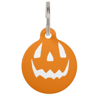 Happy Halloween Jack O'Lantern Face Pet ID Tags