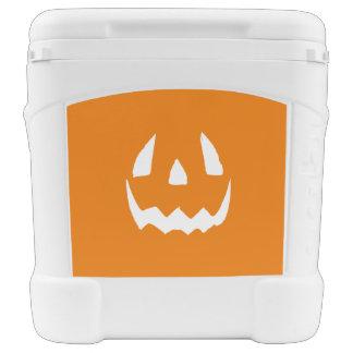 Happy Halloween Jack O'Lantern Face Igloo Rolling Cooler