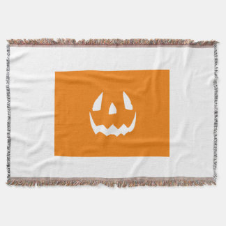 Happy Halloween Jack O'Lantern Face Throw Blanket