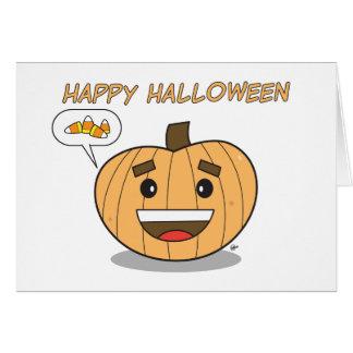 Happy Halloween Kawaii Pumpkin - Greeting Card