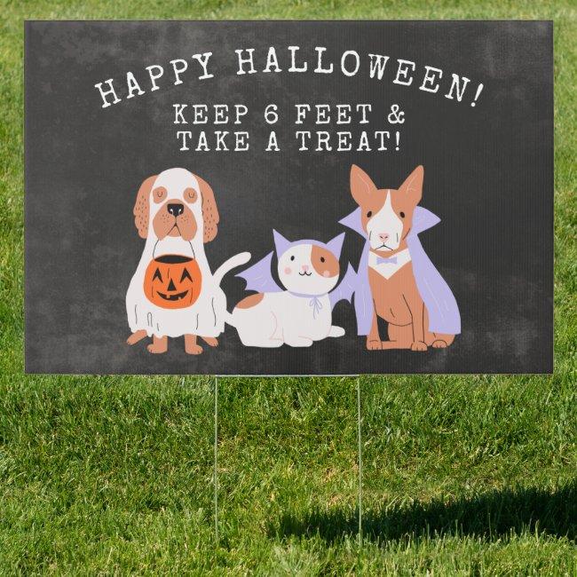 Happy Halloween Keep 6 Feet Yard Sign