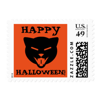 Happy Halloween! Laughing Cat Custom Text (Black) Postage