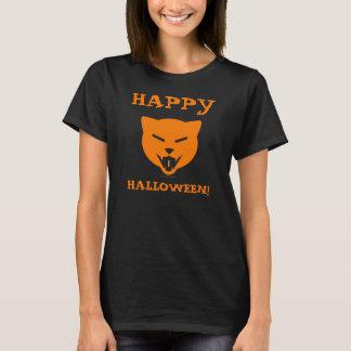 Happy Halloween! Laughing Cat Custom Text (Orange) T-Shirt