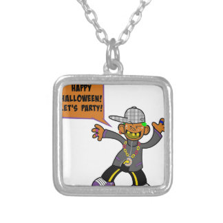 Happy Halloween Let's Party Silver Plated Necklace