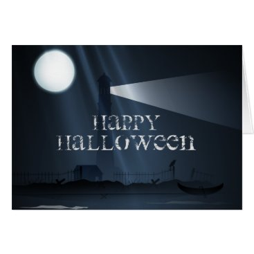 Beach Themed Happy Halloween Lighthouse at Night Greeting Card