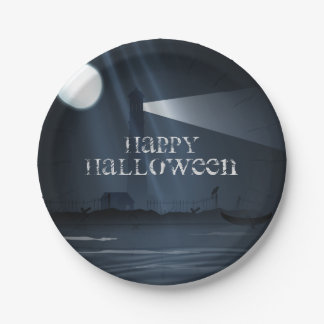 Happy Halloween Lighthouse at Night Party Plates