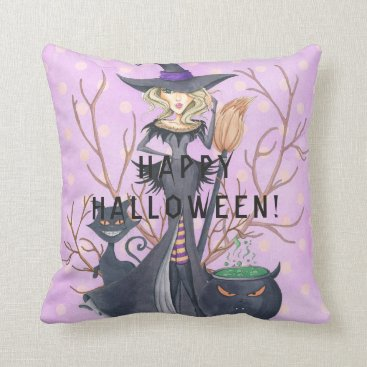 Halloween Themed Happy Halloween lilac grey witch broom black cat Throw Pillow