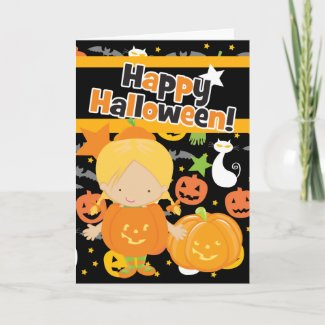 Happy Halloween Little Pumpkin Girl card