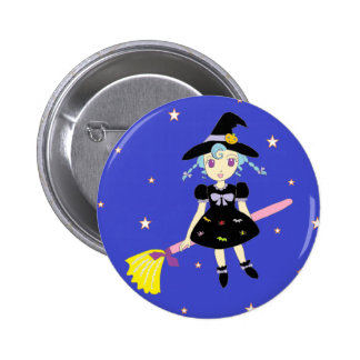 Happy Halloween Little Witch Girl Pinback Button
