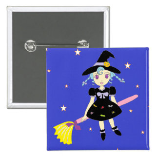 Happy Halloween Little Witch Girl Pin