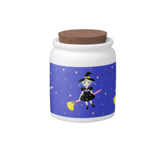 Happy Halloween Little Witch Girl Candy Jars