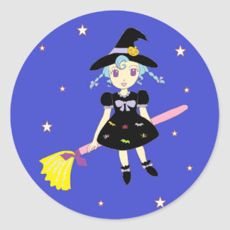 Happy Halloween Little Witch Girl Classic Round Sticker