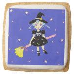 Happy Halloween Little Witch Girl Square Premium Shortbread Cookie