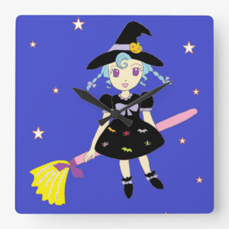 Happy Halloween Little Witch Girl Square Wall Clock