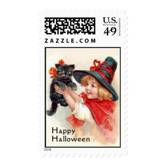 Happy Halloween Little Witch with Black Cat Stamp