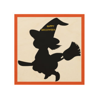"""HAPPY HALLOWEEN"" LITTLE WITCH WOOD PRINT"