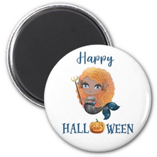 Happy Halloween magnet Girl Spooky mermaid magnet