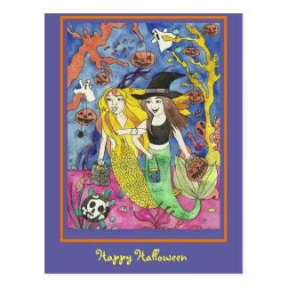 Happy Halloween Mermaid Sisters Postcards