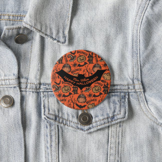 Happy Halloween Monogram Name Tag Pinback Button