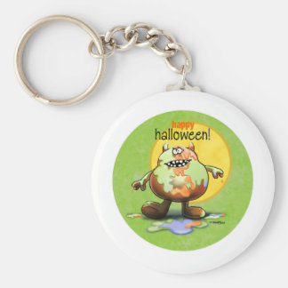 Happy Halloween Monster Basic Round Button Keychain