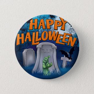 Happy Halloween Monster Zombie Cartoon Sign Pinback Button