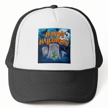 Halloween Themed Happy Halloween Monster Zombie Cartoon Sign Trucker Hat