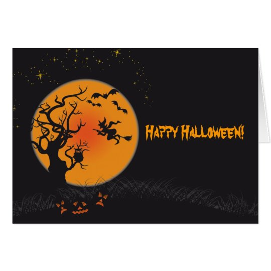 Happy Halloween Moon and Witch Card