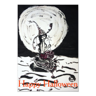 Happy Halloween Moonlight Witchy Mermaid Invite