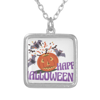 Happy Halloween Motif Silver Plated Necklace
