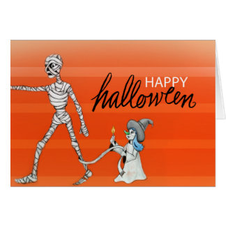Happy Halloween - Mummy and Witch Card