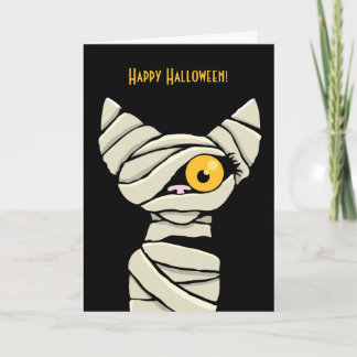 Happy Halloween Mummy Cat Card