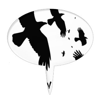 Happy Halloween Murder of Crows Cake Topper