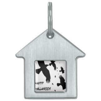 Happy Halloween Murder of Crows Pet ID Tags