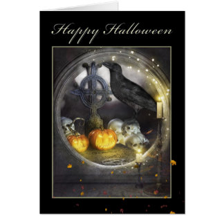 Happy Halloween Mystical Raven Greeting Card
