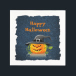 "Happy Halloween napkin Jack-o-lantern Witch hat<br><div class=""desc"">Perfect napkin for your Halloween Party. Happy Halloween text over a night sky background and featuring a delightful, smiling pumpkin wearing a witch hat. Text can be changed to a name (host of party), a date, or anything you desire. If you wish to change the text in addition that supplied...</div>"