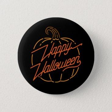 Halloween Themed Happy Halloween Neon Button