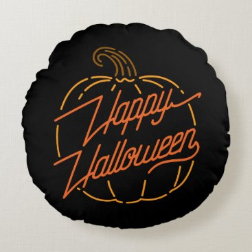 Halloween Themed Happy Halloween Neon Round Pillow