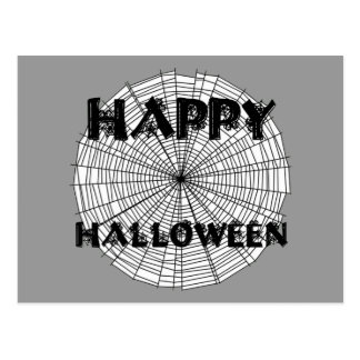 Happy Halloween on Spider Web Text Postcard