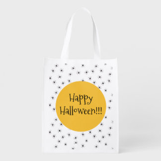 Happy Halloween on Spiders Reusable Grocery Bag
