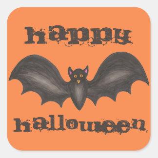 Happy Halloween Orange and Black Bat Stickers