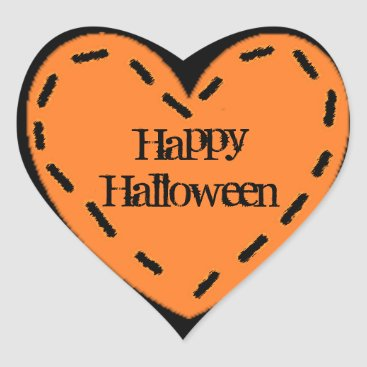 Halloween Themed Happy Halloween orange and black Heart Stickers