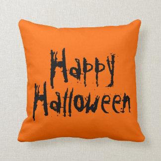 Happy Halloween Orange And Black Pillow