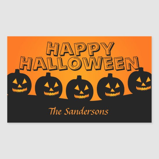 Happy Halloween Orange and Black Pumpkin Stickers