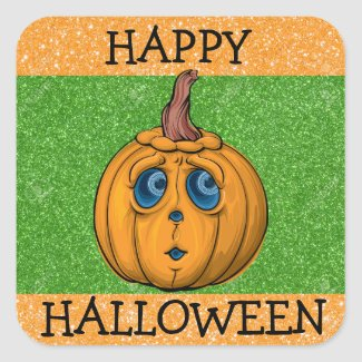 Happy Halloween Orange and Green Pumpkin Sticker