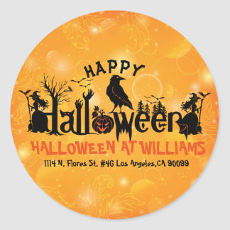Happy Halloween Orange & Black Concept Design Classic Round Sticker