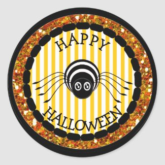 Happy Halloween Orange Black Spider Stickers